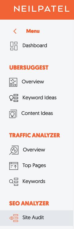 cliquez sur «Audit du site» dans la barre latérale gauche