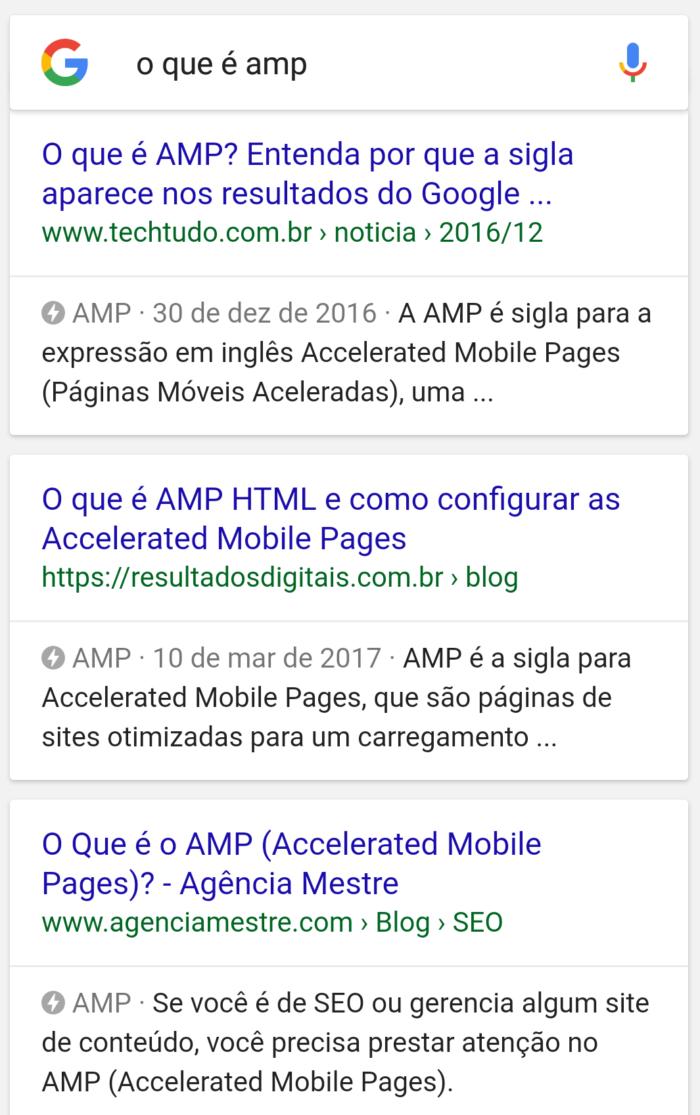 resultados AMP no google