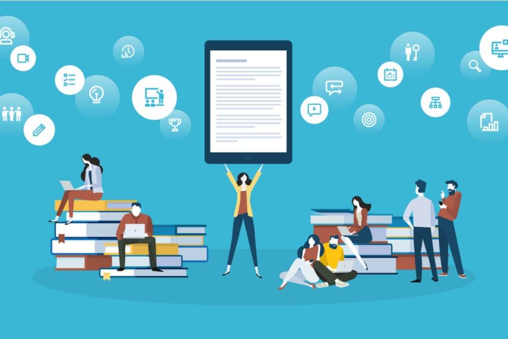 ilustração do público de livros tradicionais e a inovação do ebook