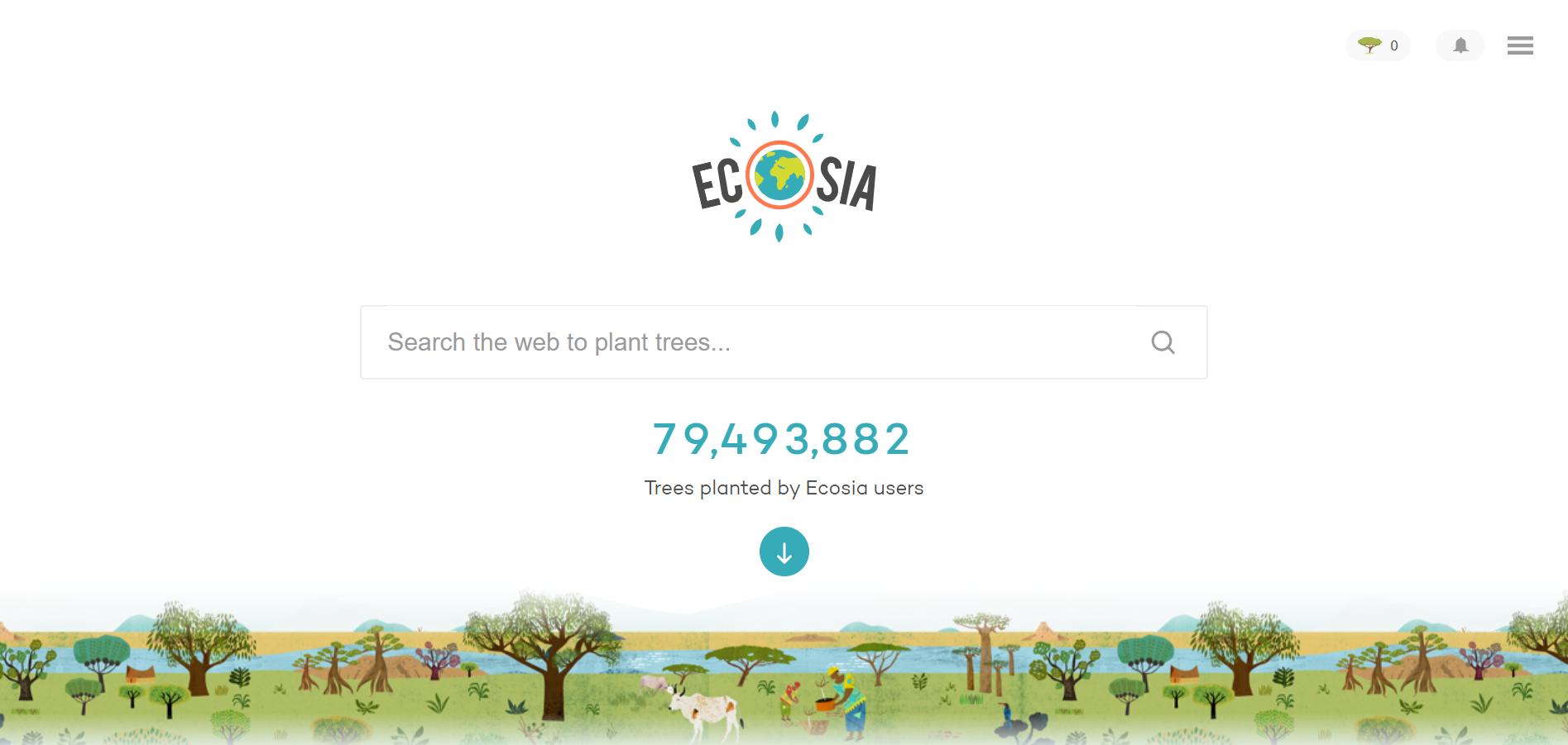 pagina inicial do site de buscas ecosia