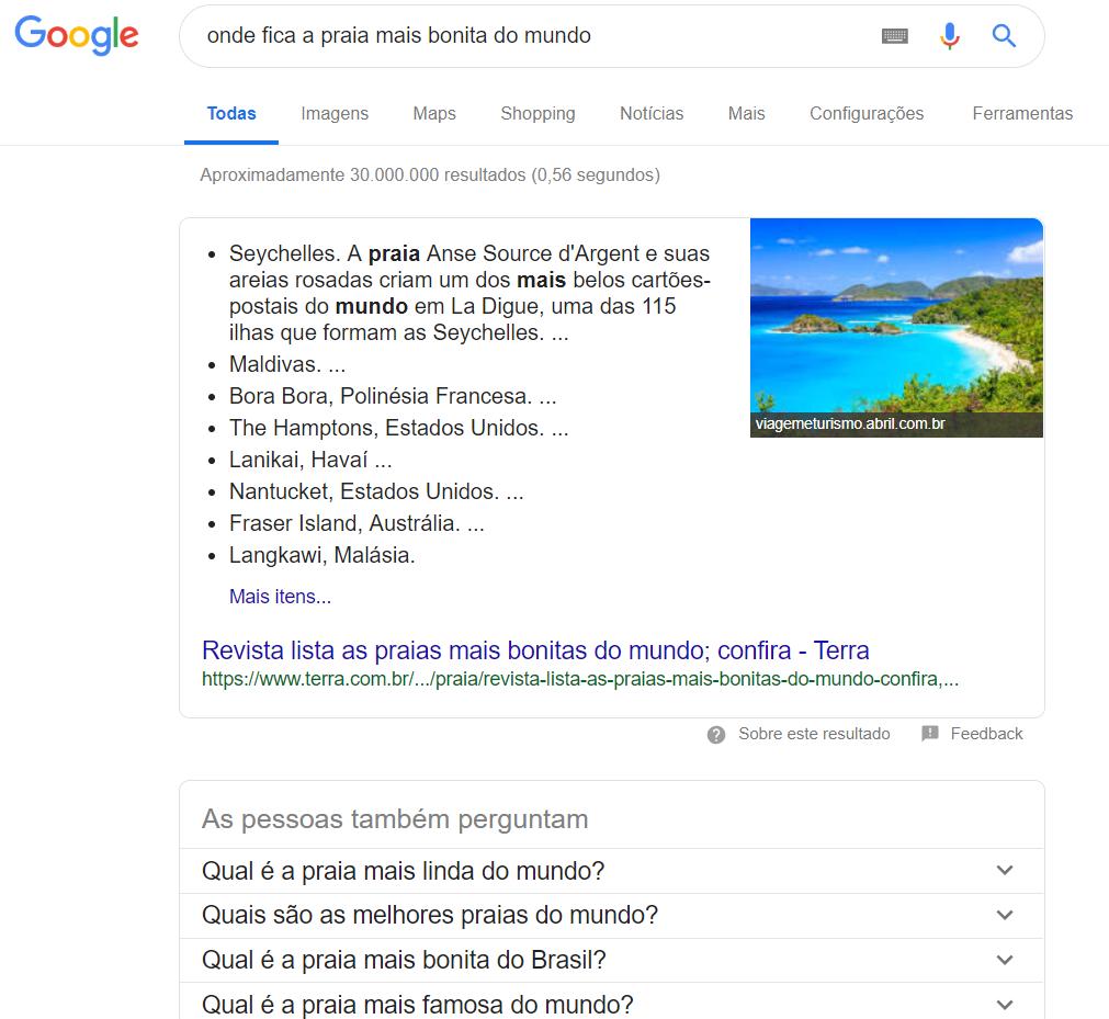 pesquisa de praia no buscador do google