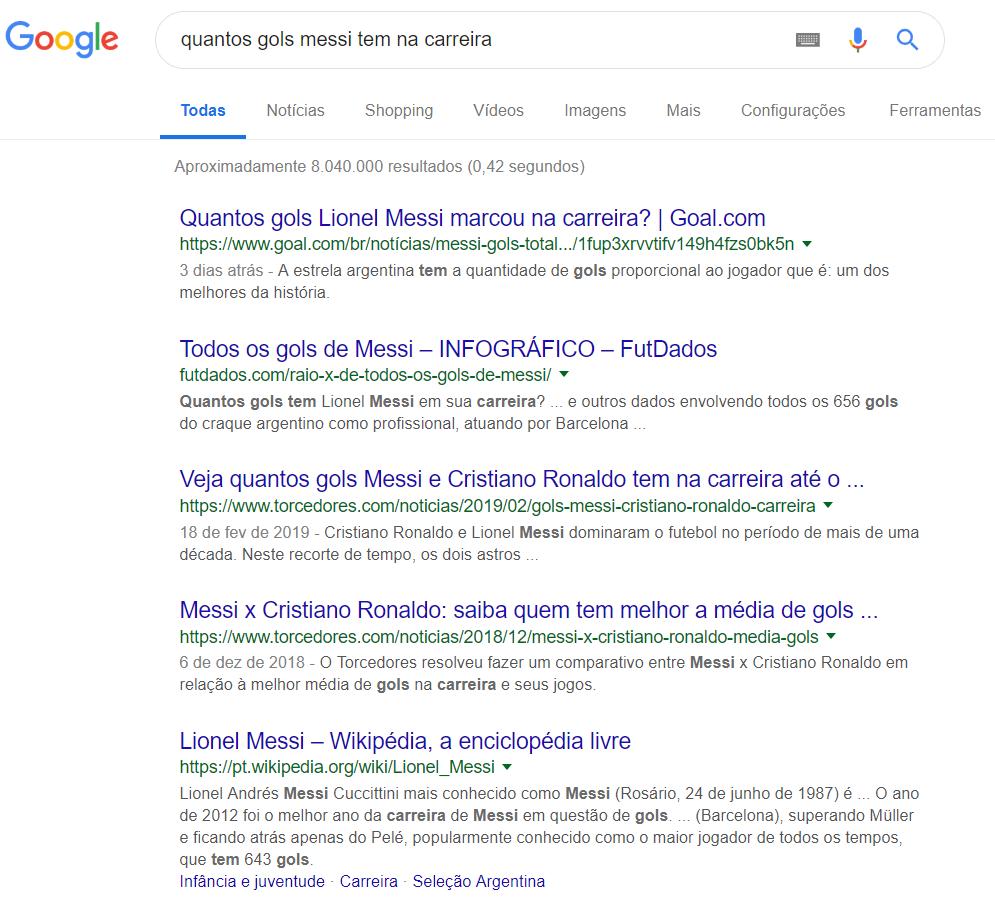 pesquisa de quantidade de gols do jogador Messi no buscador do google