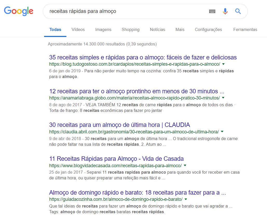 receitas no buscador do google