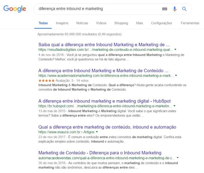 exemplo de pesquisa google