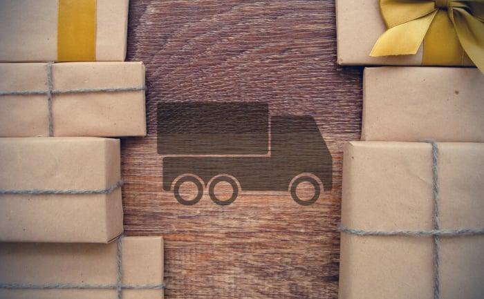 ilustração de caminhão e encomendas