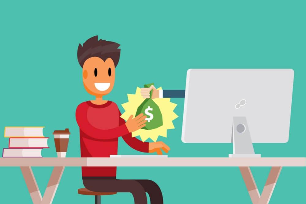 ilustração de profissional recebendo dinheiro através do computador