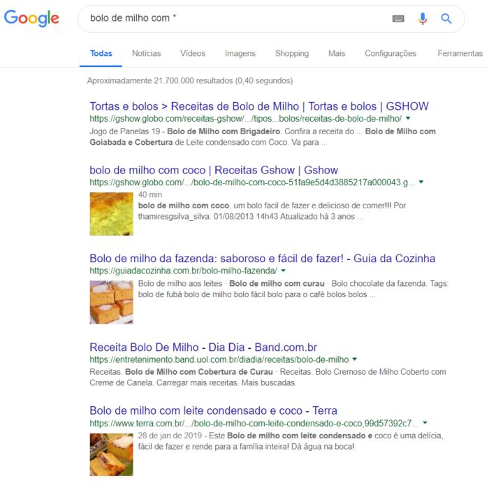 pesquisa avançada com asterisco no google
