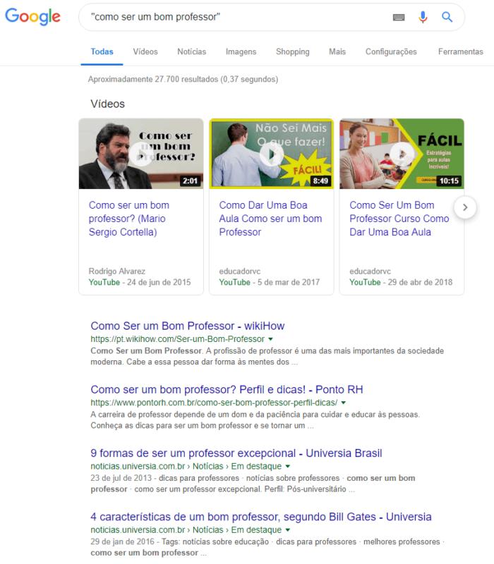 pesquisa avançada de como ser um bom professor no google
