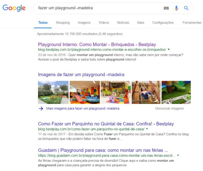 pesquisa avançada no google com sinal de menos