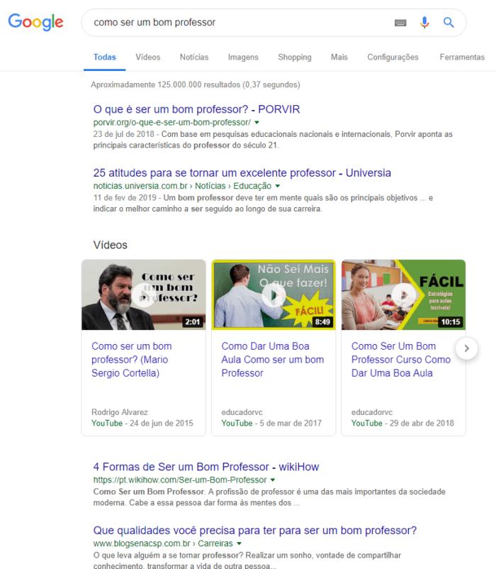 pesquisa como ser um bom professor no google