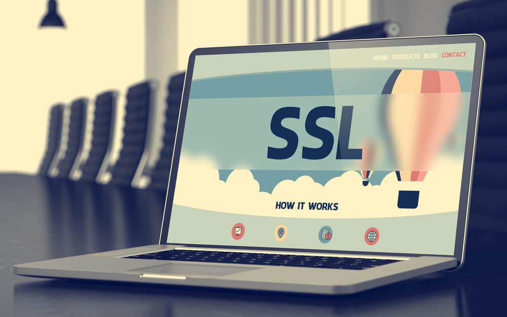 apresentação sobre SSL em laptop
