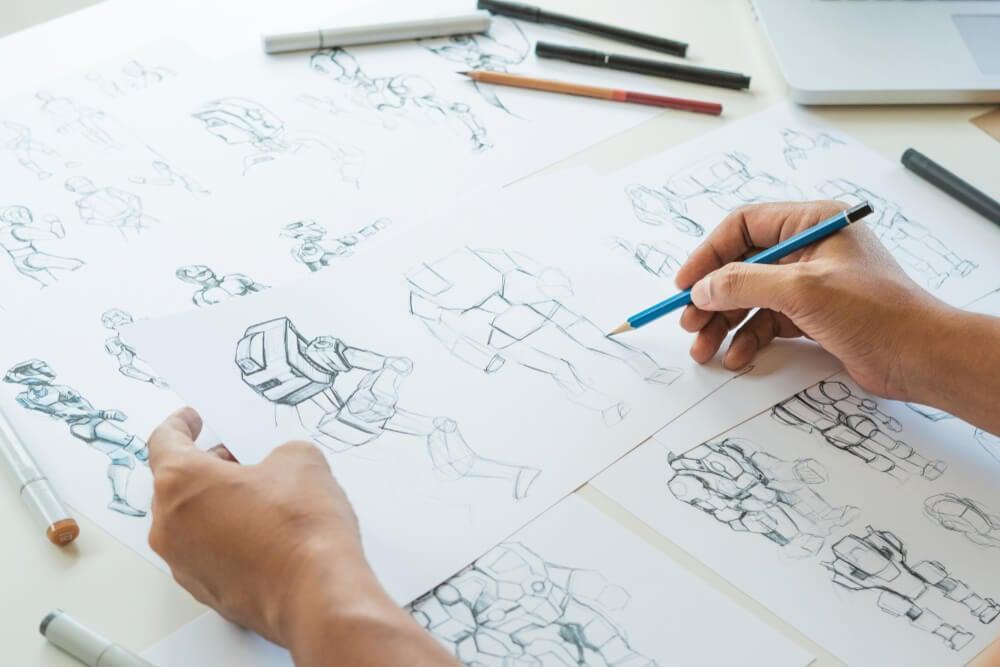 esboços para storyboard