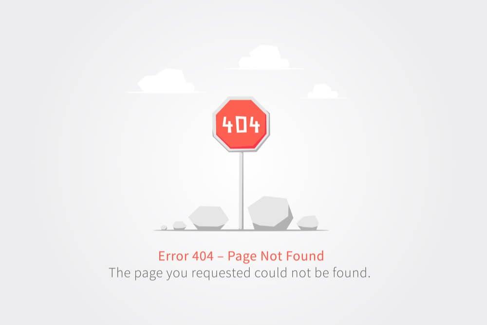 exemplo de página 404 de erro