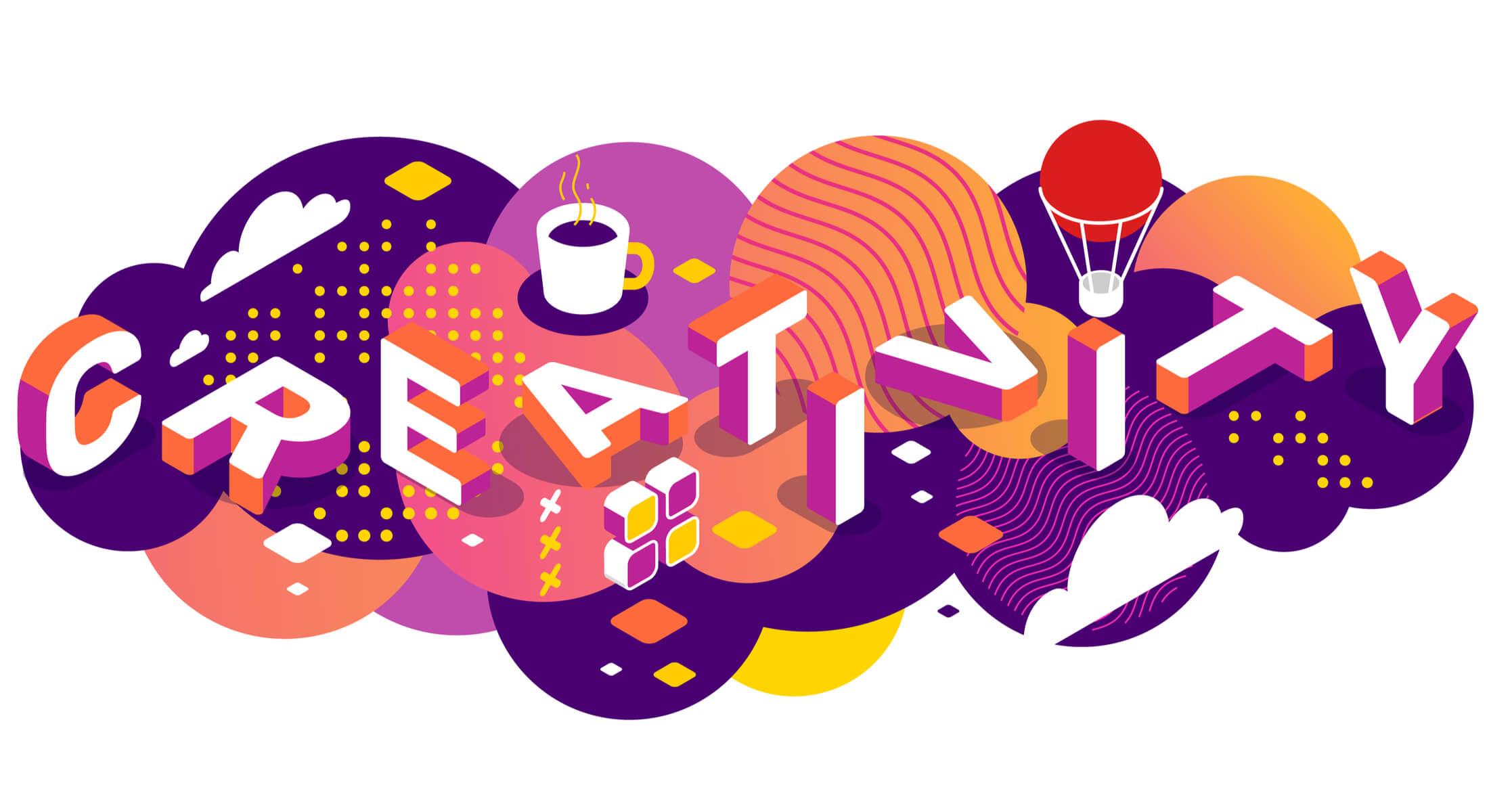 ilustração colorida do título criatividade em inglês