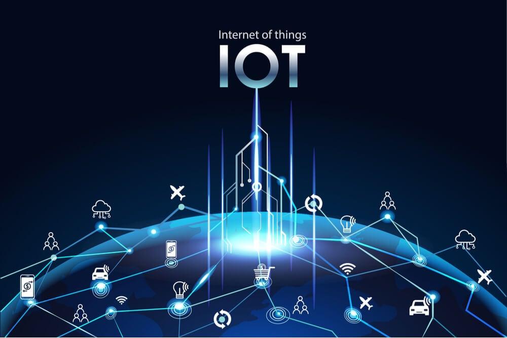 ilustração com ícones relacionados com sigla IoT e internet das coisas