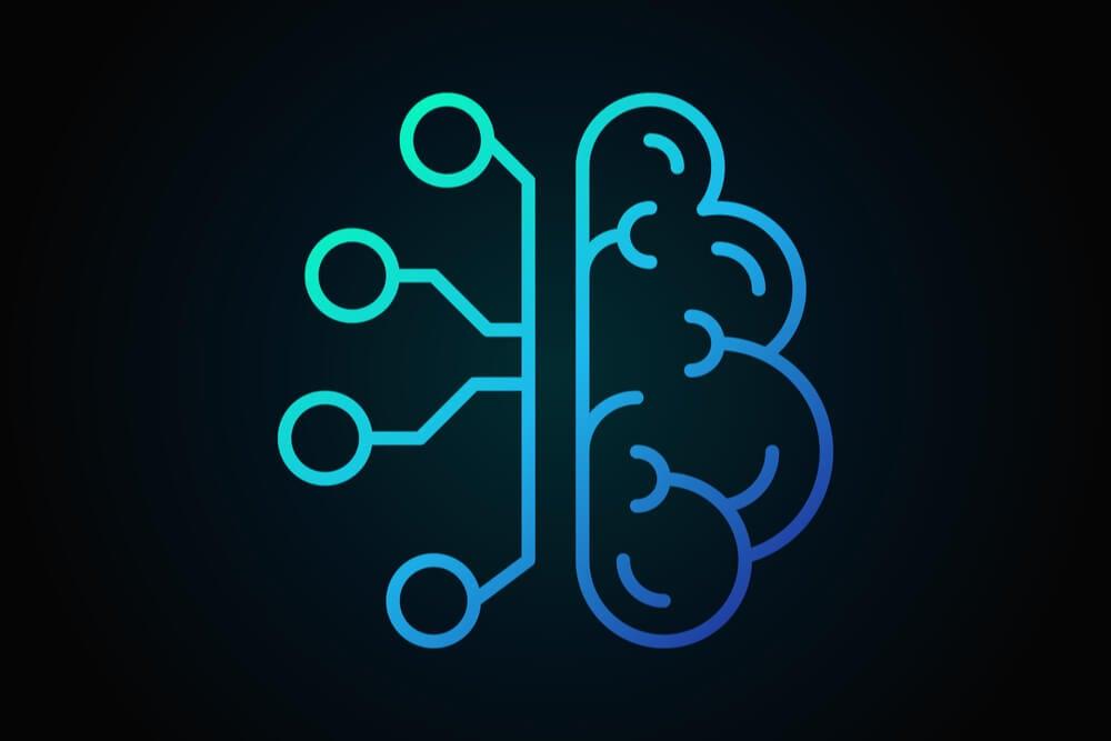 ilustracao de cérebro robótico e humano