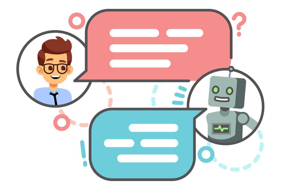 ilustração de conversa eletrônica entre humano e chatbot