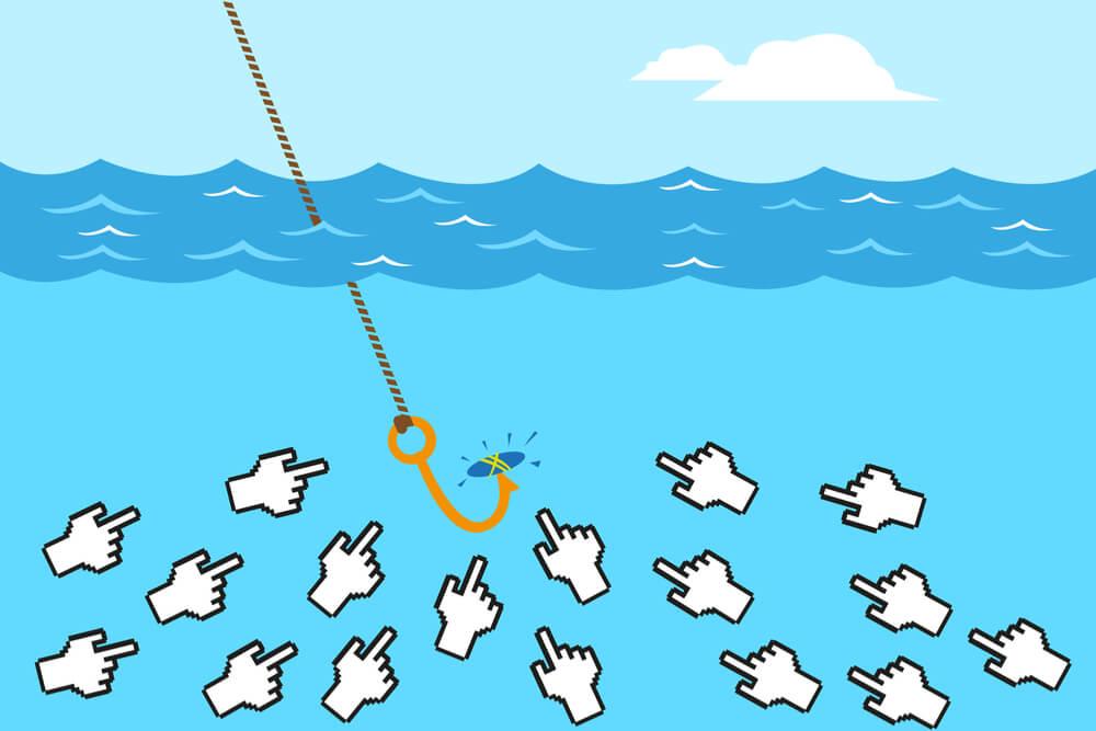 ilustração de cursores como peixes e anzol