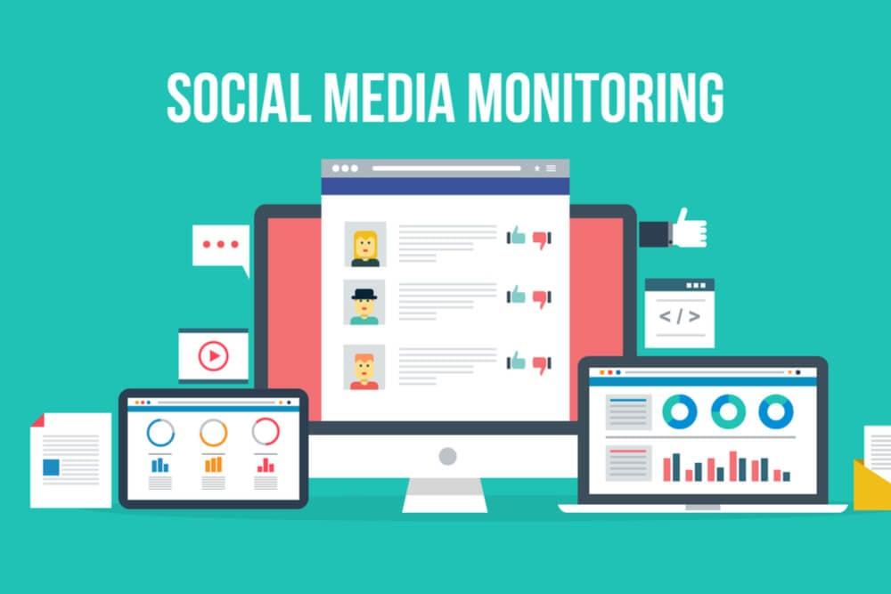 ilustração de dispositivos e monitoramento de social media