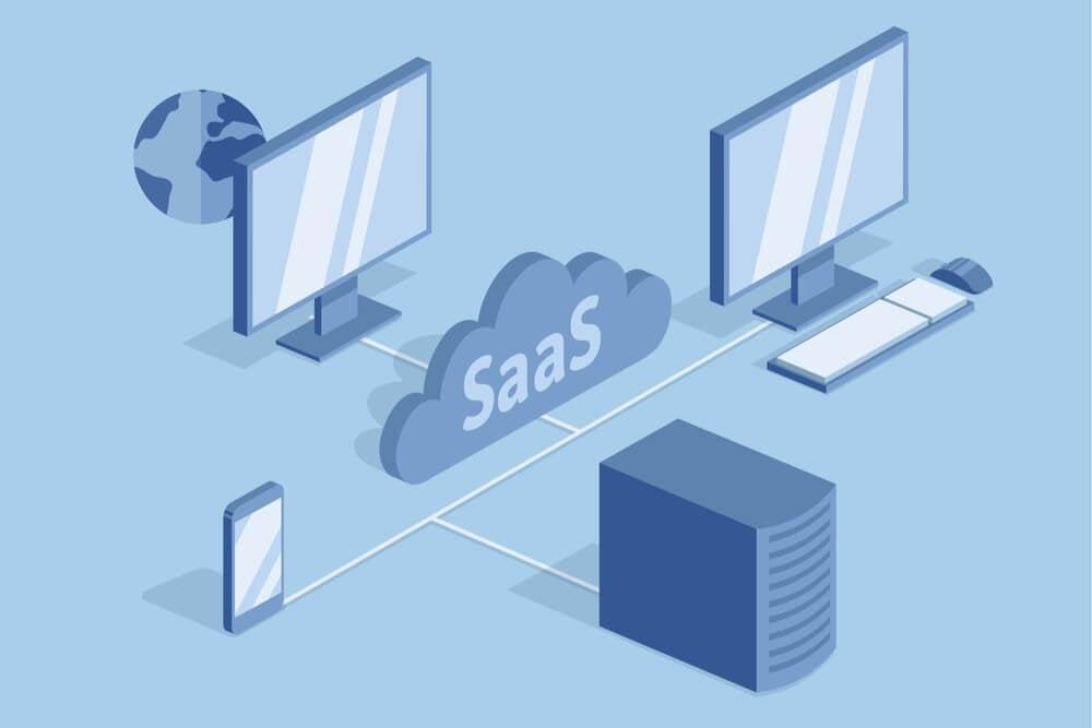 ilustração de dispositivos e sistema Saas
