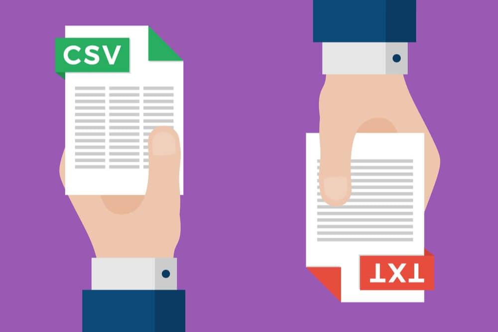ilustração de documentos .csv e .txt