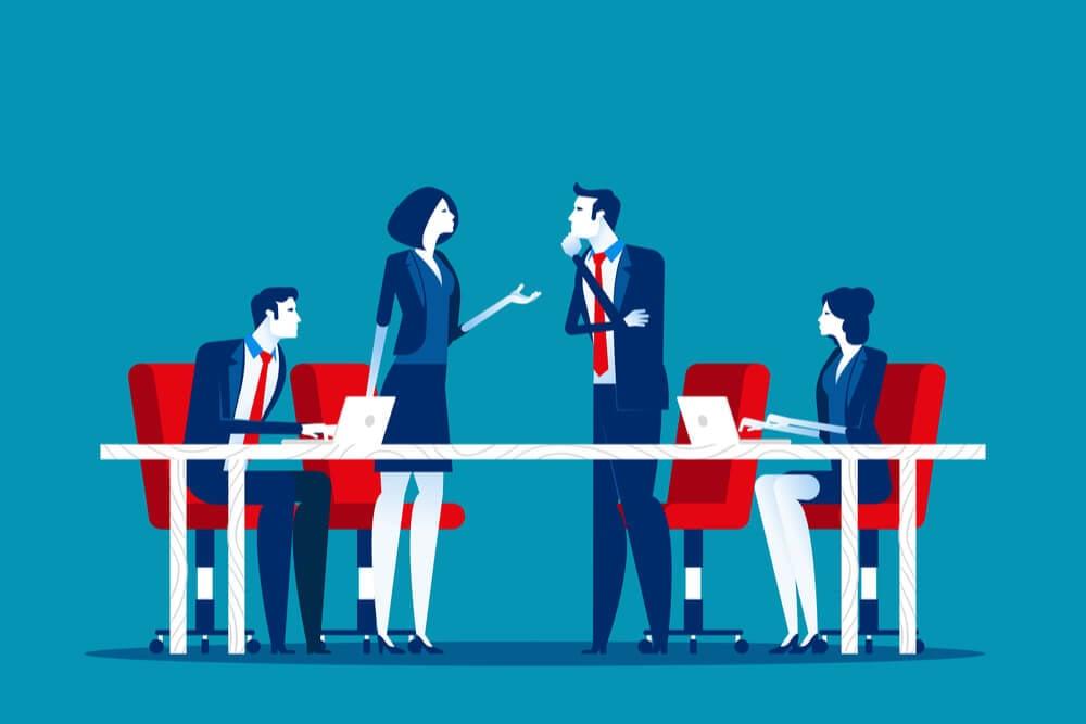ilustração de equipe em mesa de reuniao