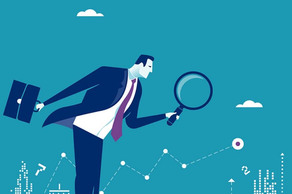 ilustração de executivo analisando com lupa