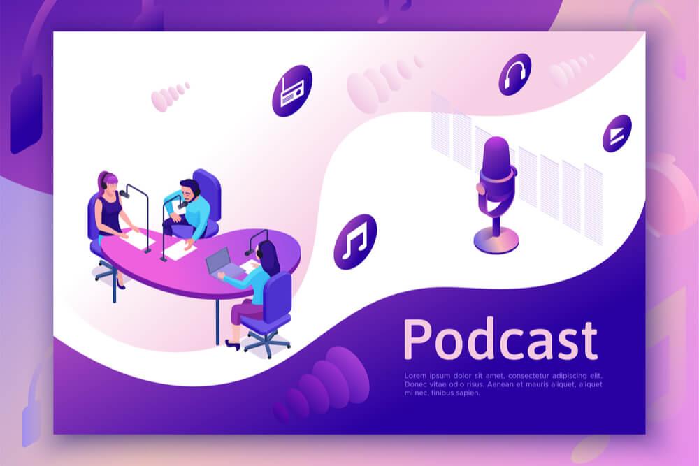 ilustração de grupo de podcast com título