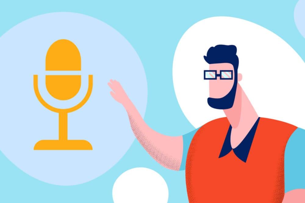 ilustração de homem e microfone