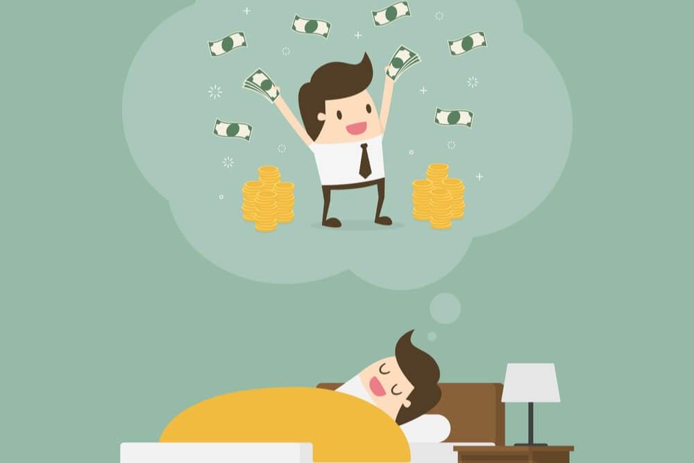 ilustracao de homem sonhando com ganhar dinheiro