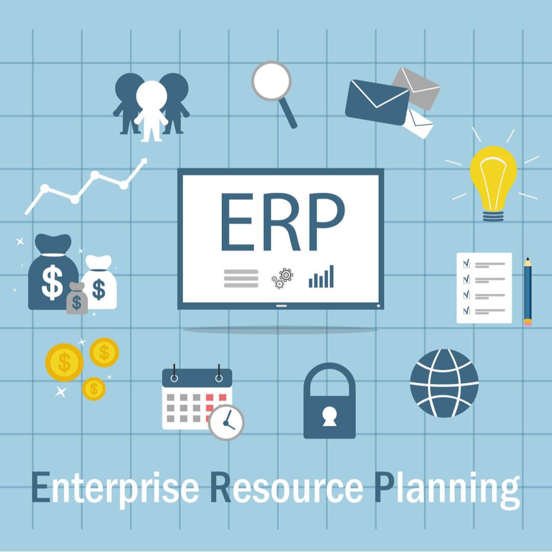 ilustração de ícones relacionados ao título Enterprise Resource Planning com sigla ERP em destaque