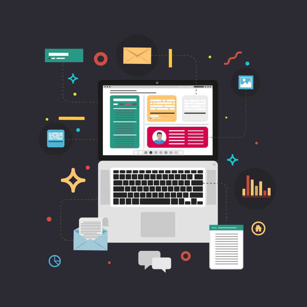ilustração de laptop e ícones relacionados à web