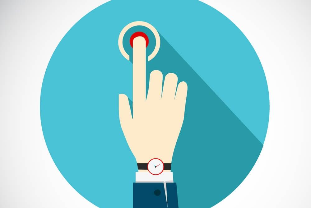 ilustração de mão representando ponto de contato