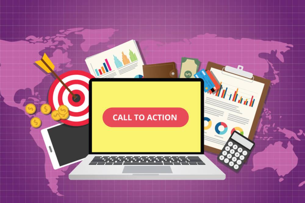 ilustração de mapa mundi no fundo de laptop e relacionados com tela sobre call-to-action