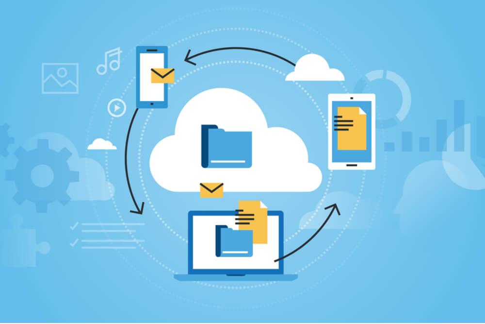 ilustração de nuvem e compartilhamento de arquivos por dispositivos