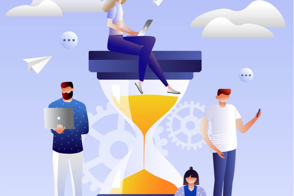 ilustração de pessoas perto de ampulheta acessando dispositivos digitiais