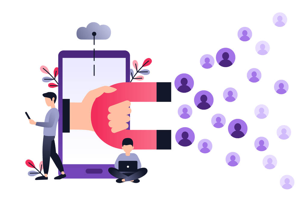 ilustração de smartphone e tráfego de pessoas