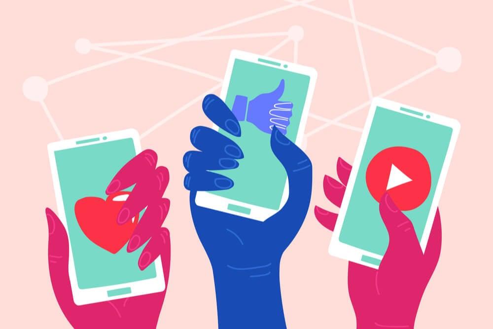 ilustração de smartphones sobre engajamento