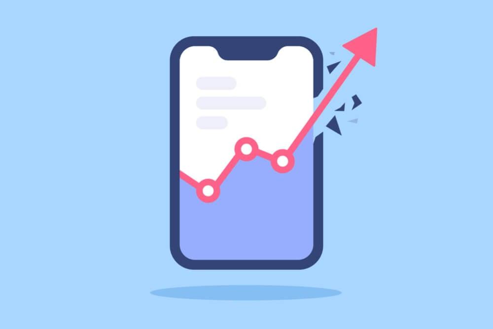 ilustração de tablet com símbolo de crescimento