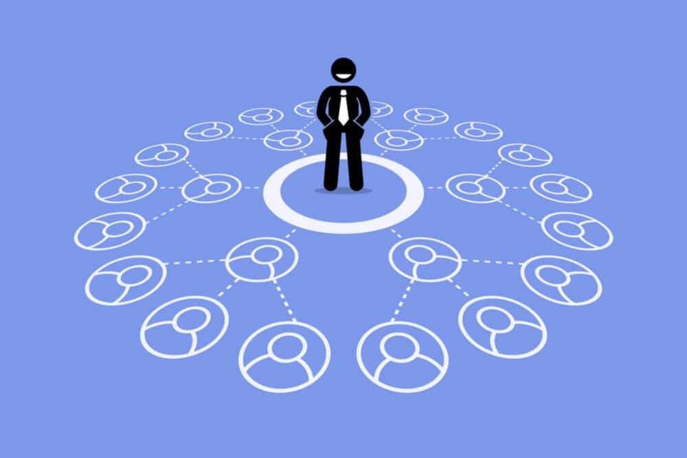 ilustração de várias pessoas ligadas a um homem de negocio