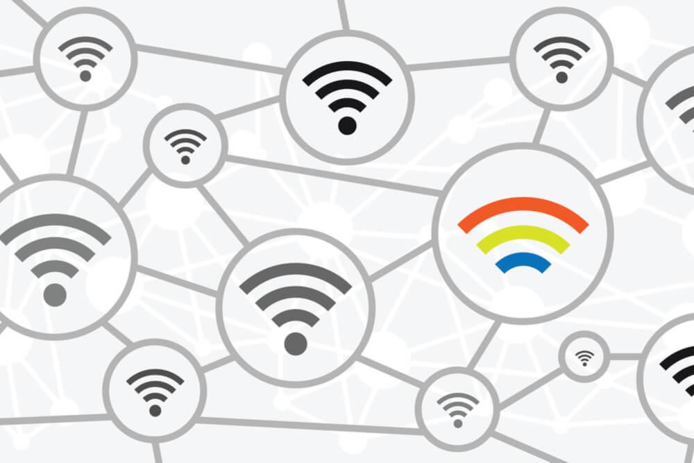 ilustração de varios simbolos de wifi cinzas e um colorido
