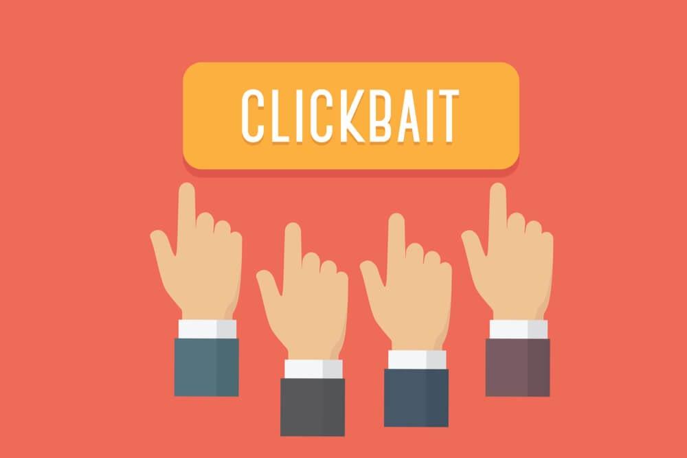 ilustração do título clickbait e cursores