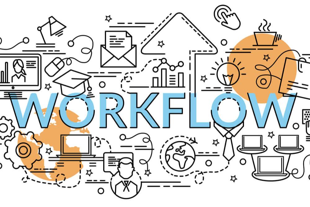 ilustração do título workflow com símbolos relacioandos