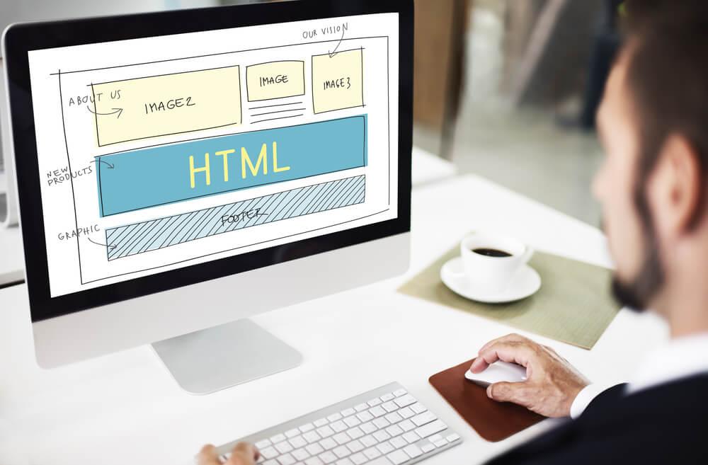ilustração em tela de computador sobre templete de site