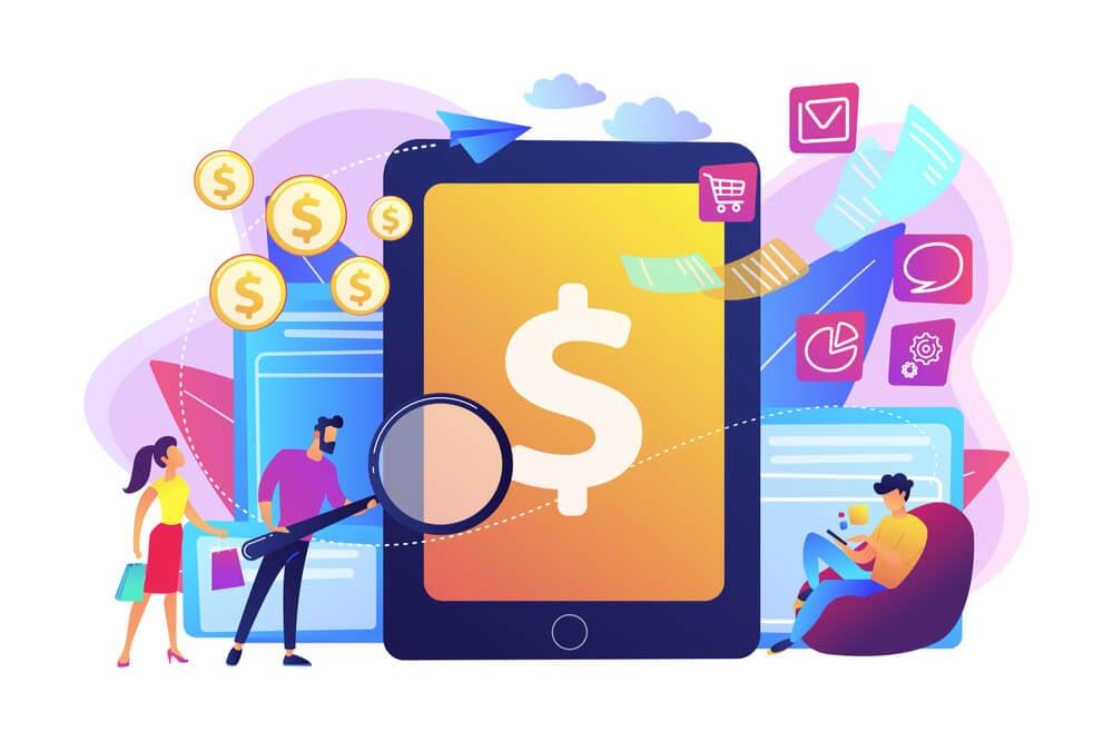 ilustração representando tecnologias e dinheiro