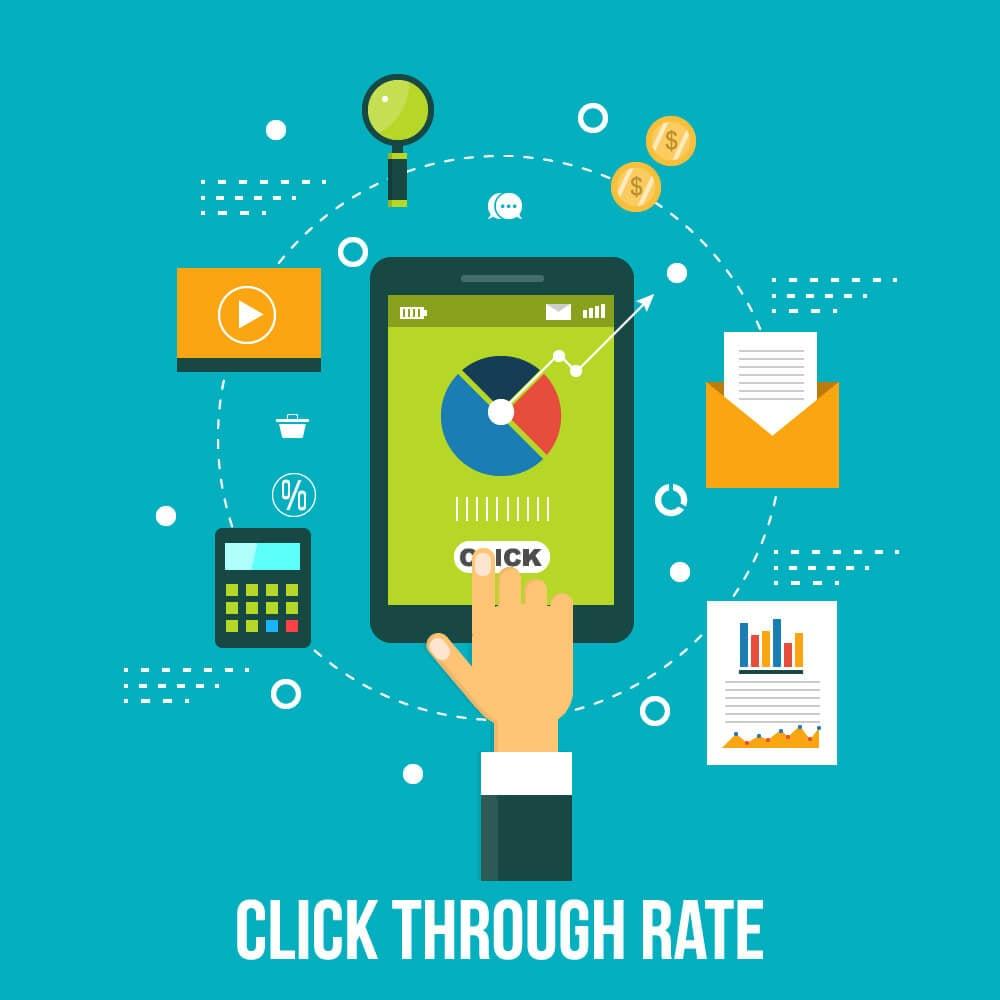 ilustração sobre Click Through Rate e símbolos relacionados