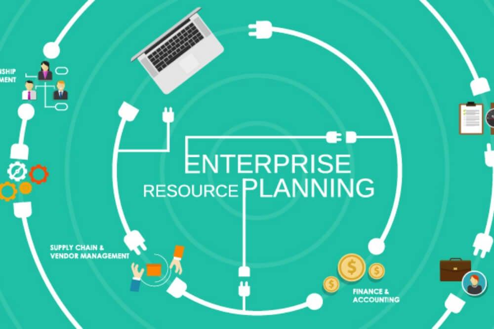 ilustração sobre enterprise resource planning com símbolos títulos e desenhos relacionados a ERP