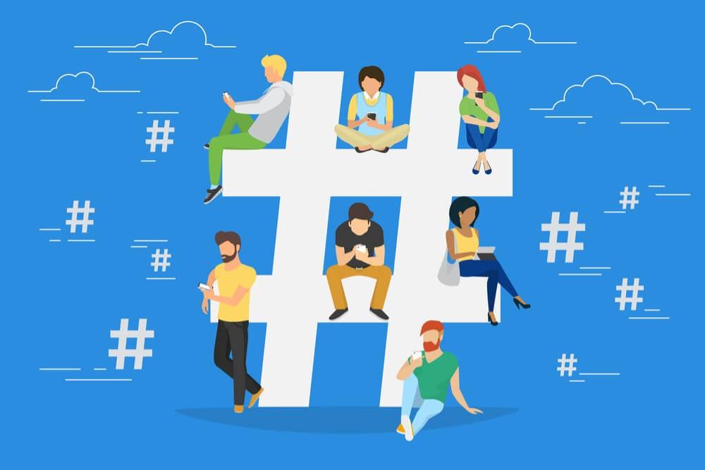 ilustração sobre hashtags