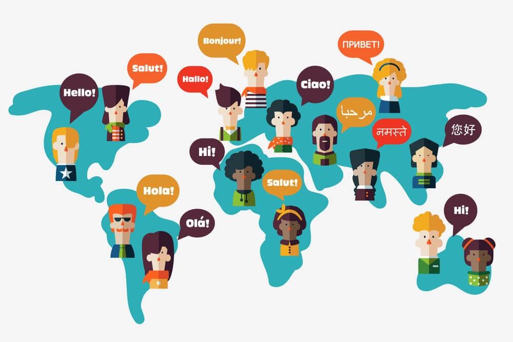 ilustração sobre idiomas diferentes