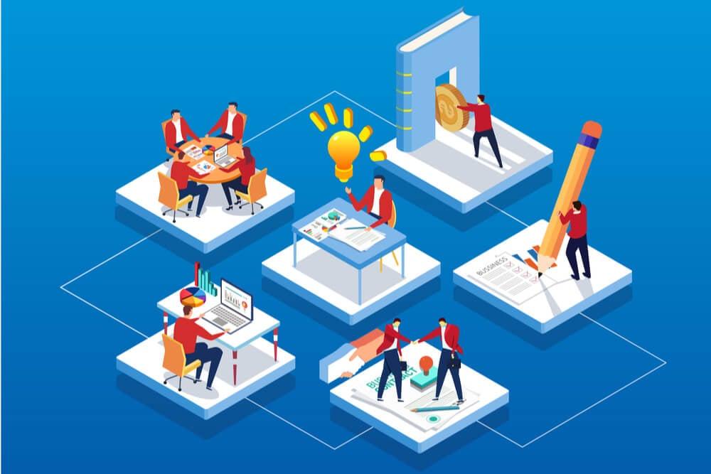 ilustrações de vários grupos de trabalho interligados